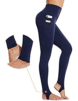 BALEAF Women s 28  High Waisted Yoga Leggings Tummy Control Workout Athletic Tights Navy Size S