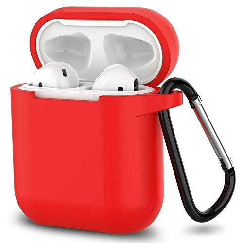 Ellenne Funda de silicona fina compatible con Apple Airpods 1 y 2 Funda antiarañazos + gancho (rojo)