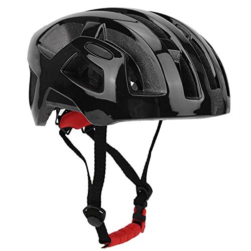 Casco de protección para la Cabeza para Ciclismo Casco de Bicicleta de Doble Hebilla Moldeado integralmente Moldeado de una Pieza Tipo de Engranaje Circunferencia de la Cabeza Ajustable(Negro Mate)