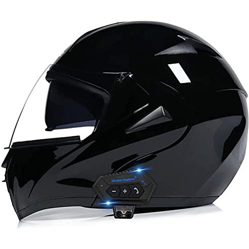 CHICTI Bluetooth Integrado Casco De Moto Modular con Doble Anti Niebla Visera Motocicleta ECE Homologado para Temporadas Universal Adult Unisexs (Color : Y, Size : XXL)