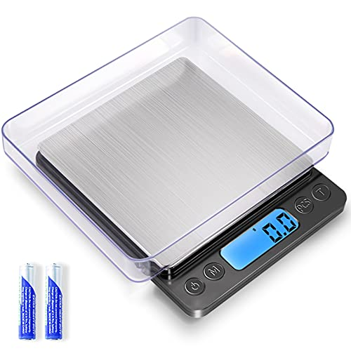 Digital Food Kitchen Scale Upgraded, YONCON 3000g/0.1g High Accuracy Mini Pocket Scale Measures in Grams and oz for Cooking, Baking, Jewelry, Tare Function,2 Trays, LCD Display (Batteries Included)