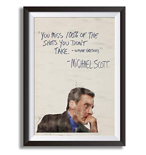 """Premium Michael Scott 18"""" x 24"""" Poster - Humorous for Classrooms, Dorms, Office - Inspirational Gift for Students, Teachers, Schools, Fans of the show, Entrepreneurs with a Growth Mindset (unframed)"""