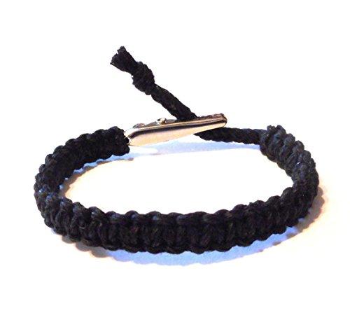 Hempnotic Jewelry Adjustable Alligator Clip Mens or Womens Black Hemp Bracelet - Handmade