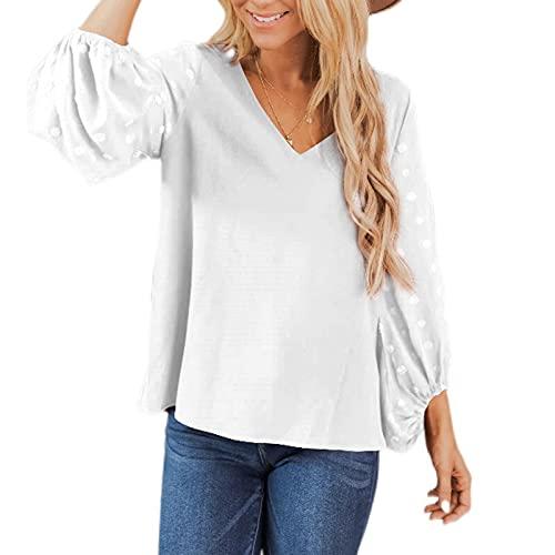 Moda Camiseta Mujer con Manga de Linterna Color Liso Jacquard Blusas Mujer de Cuello V Elegantes Camisas para...