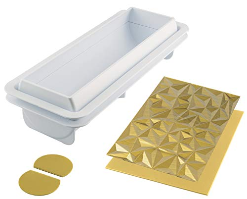silikomart 25.074.63.0065 Kit Moule à bûche Diamant, Silicone, Blanc, 25 x 8 x 6,7 cm