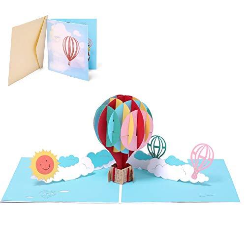 X-Labor 3D Ballon Pop up Karte mit Umschlägen Grußkarte Klappkarte für Geburtstag Weihnachten Valentinstag Hochzeit Frühjahrskarte
