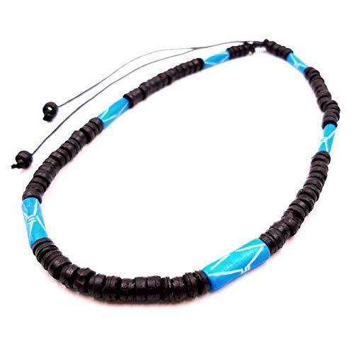 Collar surfero de coco, étnico, de madera, perlas, tribal para hombre, mujer, niño, negro, azul turquesa