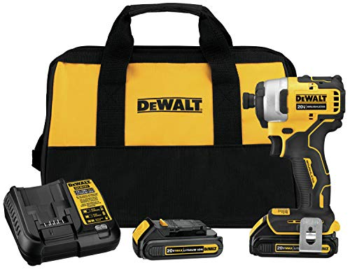 DEWALT ATOMIC 20V MAX Impact Driver, Cordless, Compact Kit, 2 Batteries, 1/4-Inch (DCF809C2)