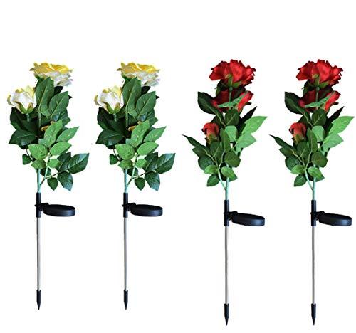Set van 4 solarlampen voor de tuin, decoratieve verlichting voor buiten, LED, roze, grondpennen op zonne-energie, waterdicht met 12 roze bloemen, voor de decoratie van tuin, terras en tuin