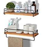 SODUKU Floating Shelves Wall Mounted, Wall Wood Storage Shelf for Kitchen Bathroom Bedroom Set of 2 Carbonized Black