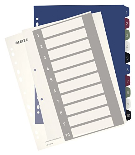 Leitz A4 Register, 1-10, 10 Trennblätter, Beschriftbares Deckblatt, Extrabreit, PP, Style, Mehrfarbig, 12370000