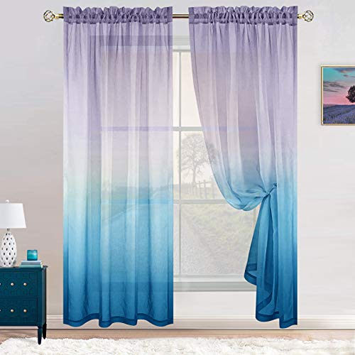 Lilac and Blue Curtains for Canopy Bed Girls Set 2 Panels Rod Pocket Window Rainbow Ombre Pattern Sheer Cute Kids Curtains for Girls Room Mermaid Decor Decoration 54 x 84 Inch Length Aqua