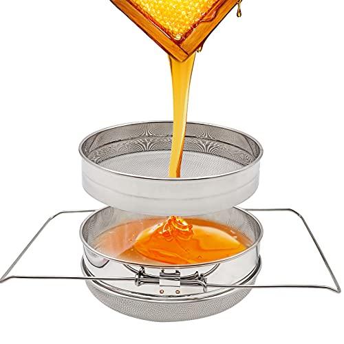 PROBEEALLYU Filtre à Miel en Acier Inoxydable - Double passoire à Miel avec poignée Extensible, Tamis à entonnoir à vin avec filtre à miel