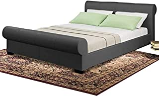 Asghar Furniture - Crum Platform Bed - Dark Grey, Super King Without Mattress
