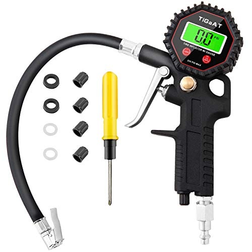 TiGaAT Digital Tire Pressure Gauge Inflator, 200 PSI Heavy Duty Air Chuck and Compressor Accessories High Air Pressure Gauge for 0.1 Display Resolution