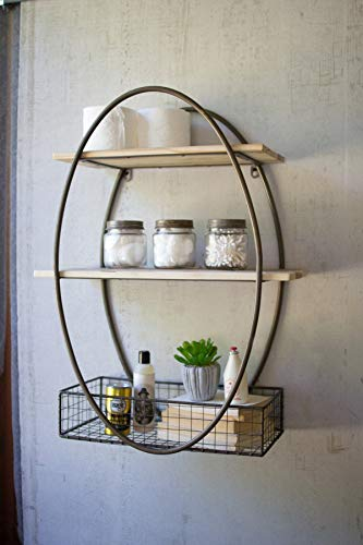 Womio Industrial Metal and Wood Wall Shelf Unit,Rustic Floating Wood Shelves Wall Mounted,30in