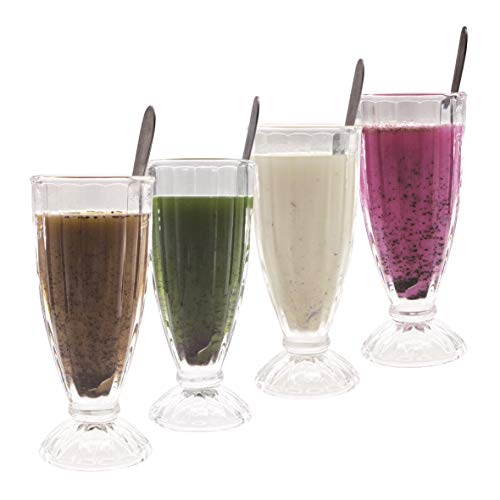 Classic Milk Shake Glass, 12-Ounce, With Long Stainless Steel Spoons