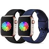 CeMiKa Sport Armband Kompatibel mit Apple Watch Armband 38mm 40mm 42mm 44mm, Ersatzarmband Silikonband Kompatibel mit Apple Watch SE/iWatch Series 6 5 4 3 2 1, 38mm/40mm-M/L Schwarz/Blaue Schnalle