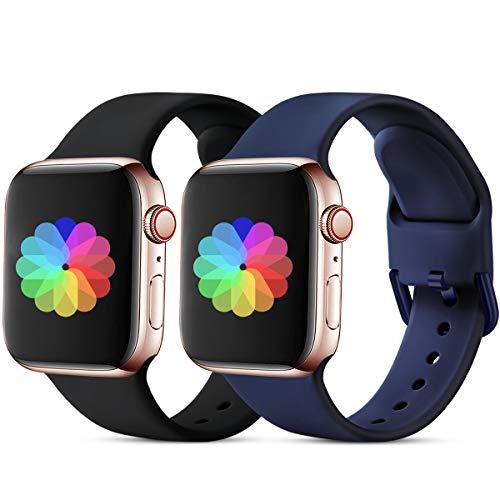 CeMiKa Sport Armband Kompatibel mit Apple Watch Armband 38mm 40mm 42mm 44mm, Ersatzarmband Silikonband Kompatibel mit Apple Watch SE/iWatch Series 6 5 4 3 2 1, 42mm/44mm-S/M Schwarz/Blaue Schnalle