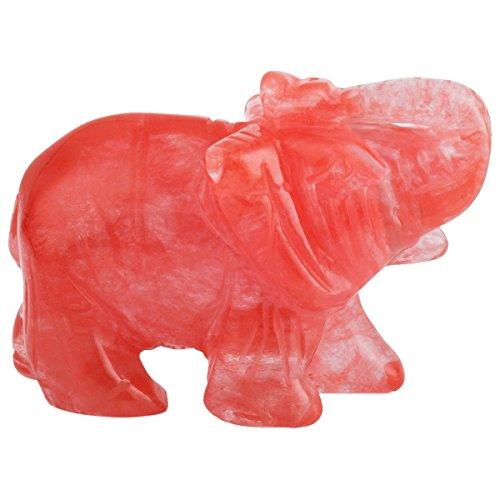 mookaitedecor Natural Cherry Quartz Elephant Ornament Figurine,Healing Crystal Energy Gemstone Reiki Statue Home Decor,1.5 Inches