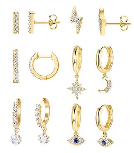 Milacolato 6 pares set pendientes Luna Estrella Dangle Aros Pendientes para mujer Mini Bar Stud Pendientes CZ Drop Cartilago Joyería linda Pequeño Huggie Aros Regalo Chapado en Oro