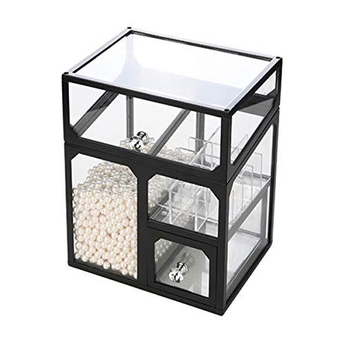 Caja De Almacenamiento Con Tapa Polvo a prueba de polvo Capacidad grande Capacidad de baño Lápiz labial Maquillaje Pincel de escritorio Rack de cristal Caja de almacenamiento cosmético Caja De Cosméti
