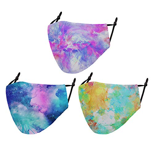 Cloth Face Mask Washable Reusable - Adjustable Cotton Masks Unisex Dust Face Mask Plain Mouth Cover Colorful Face Covering for Adult ,Women ,Men Pack of 3 - Painting