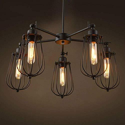 HTL Vintage Industrial 5 Lámpara de Araña Europea Y Estadounidense Irón de Hierro Forjado Lámpara Colgante Lámpara de Techo E27 / E26 Creativo Hierro Forjado 5 Dormitorios Lámpara Colgante Lámpara de