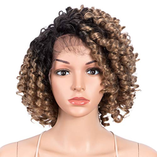 "Style Icon 13"" Afro Wigs Short Curly Wigs for Black Women Lace Front Side Part Synthetic Wigs Light Blonde Wig(13 Inch, OT27)"