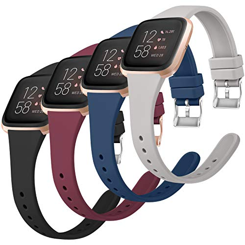Amzpas Armband Für Versa 2 Armband/Versa Armband, Weiches Silikon Schmal Schlank Sport Ersatz Armband für Versa/Versa 2 (.03 Windrot+Schwarz+Marineblau+Gray, S)