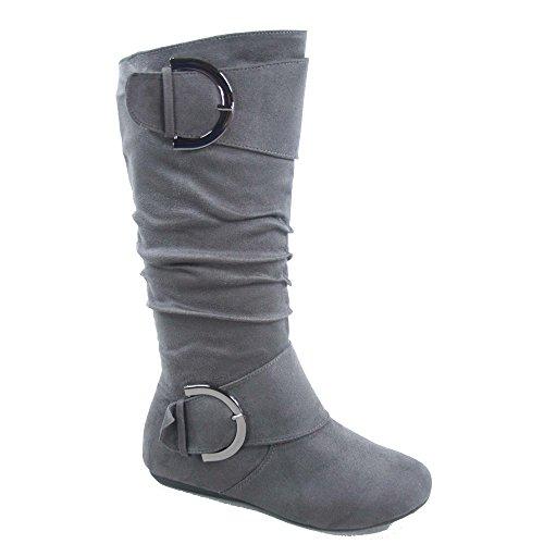TOP Moda Bank-81 Women's Fashion Round Toe Flat Heel Zipper Buckle Slouchy Mid-Calf Boot Shoes (7, Grey)