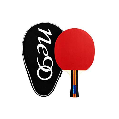 Raqueta de ping-pong ligera con funda para pala de ping pong de alta velocidad, excelente control con asa acampanada y funda de transporte para juego en interiores y exteriores