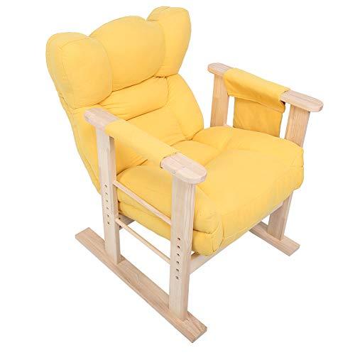 Wohnzimmersessel, Gelb Retro-Sessel Designsessel Holzsessel Retro Sessel Stuhl Ohrensessel mit 5 Winkel einstellbar, Holzrahmen mit weichem Kissen