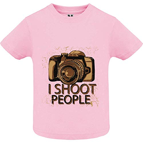 LookMyKase T-Shirt - I Shoot People - Bébé Fille - Rose - 6mois