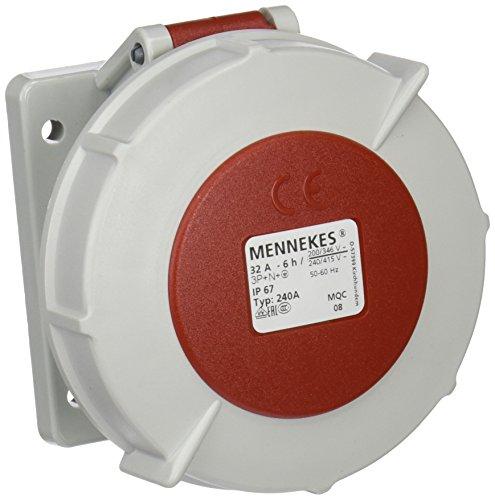 Mennekes 101100297Grundlagen Semi Einbauleuchte EWG, Steckdosen CEE, 400V, 50–60Hz, 32A, 5-polig, IP 67, 10Verpackung, rot