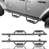 RODEO TRAIL Wrangler JL Steel Side Steps Slider Rails Running Boards Nerf Bar for Jeep Wrangler JL 4 Doors 2018 2019 2020 2021 Unlimited Sports Sahara Rubicon (Not for Jeep Gladiator)