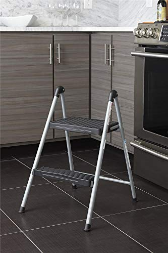 Cosco Two Step Steel, Resin Steps, Step Stool without Handle, Platinum/Black