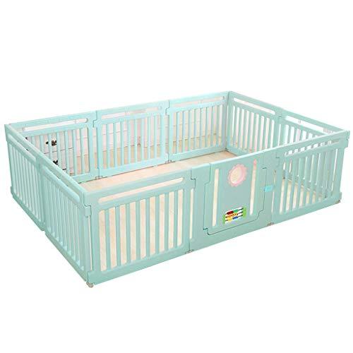 ZHAS Rectangle Baby Playpen Activity CenteSafety Playard Door, Kid's Fence Indoor Outdoor, Easy Assembled, Anti-Slip Base with Lock