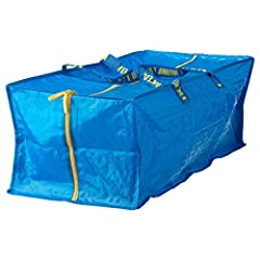Ikea Frakta Storage Bag - Blue -- SET OF 3 Can be used to carry things on your back, in your hand, or together with FRAKTA cart. Easy to clean; just rinse with water and let dry. Main parts: 100 % polypropylene, Polypropylene - Handle: 100 % polyprop...