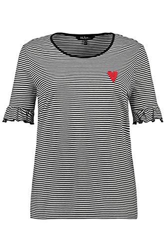Ulla Popken Damen gestreift mit Herzstickerei, Slim T-Shirt, Schwarz (Schwarz 10), (Herstellergröße: 54+)