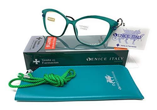 New Model última moda EXCLUSIVA Gafas de lectura, presbicia, vista cansada, Diseño en 5 Colores. VENICE Premium Perl - Dioptrías: 1 a 3,5...