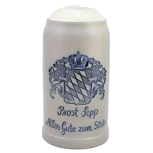 Stenen pu, bierpul met tekst naar wens, individuele gravure naar wens. Het Beierse cadeau-idee voor een verjaardag of een jubileum. zoutgeglazuurde keferloher