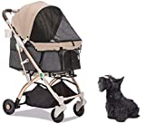 HPZ Pet Rover Lite Premium Light-Weight Dog/Cat/Pet Stroller Travel Carriage with Convertible Compartment/Zipper-Less Entry/1-Hand Quick Fold/Aluminum Frame for Small & Medium Pets (Taupe)