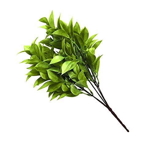 Garretlin - 2 ramo de plantas artificiales verdes artificiales para jardines, paisajismo, hogar, sala de estar, oficina, plástico, Verde cian., talla única