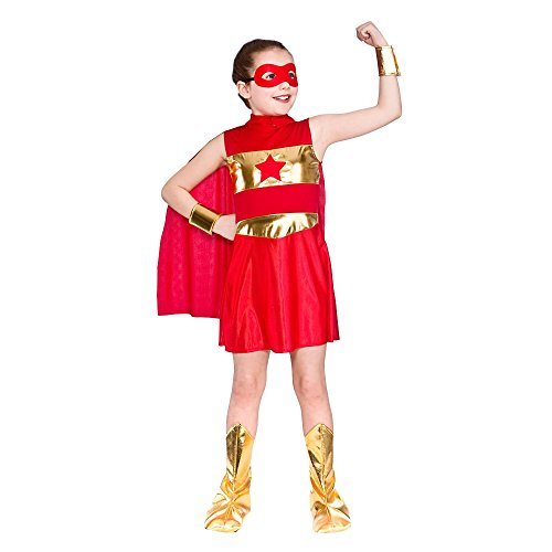 GIRLS RED AVENGING SUPER HERO FANCY DRESS COSTUME