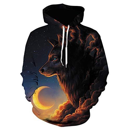 Hoodies Autumn Winter Lovers Teen Unisex Hoodies Jumpers Tops Casual Pullover Long Sleeve Hoody Pockets Funny Wolf Head 3D Print S-6Xl