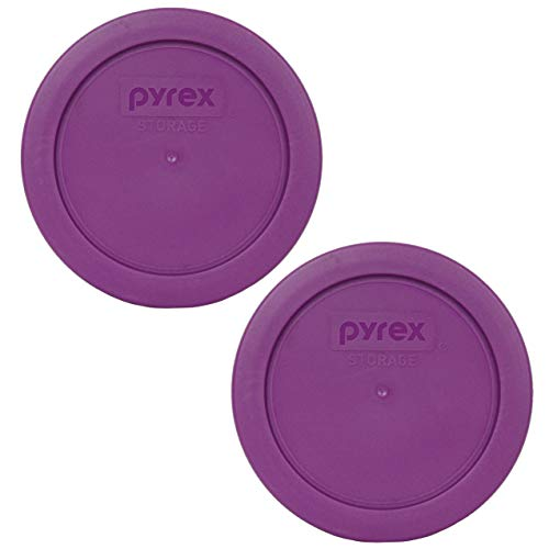 Pyrex 7200-PC Thistle Purple Round Plastic Food Storage Replacement Lids - 2 Pack