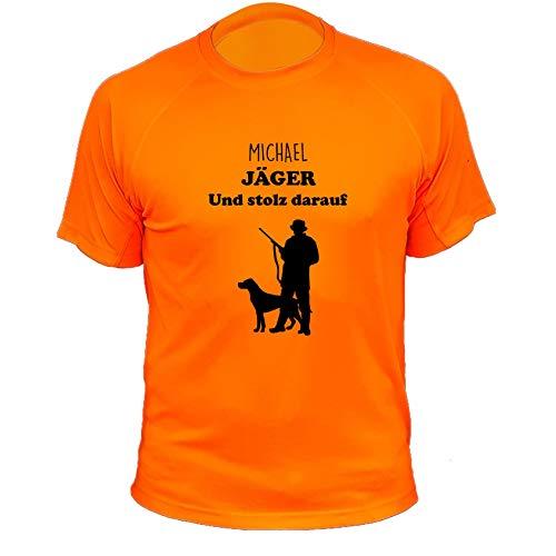 Jagd T Shirt, Jäger und stolz darauf (mit Anpassung), Lustiges Geschenk für Jäger (20150, orange, 12a)
