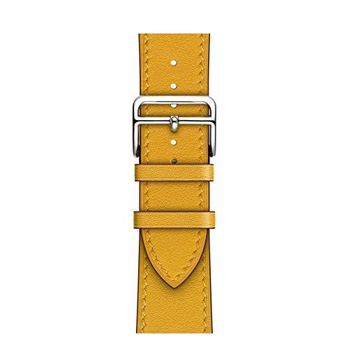 DXFFOK Loop Business Real Pulsera del Cuero de la Correa de Banda for Apple Venda de Reloj de 6 SE 5 4 42MM 38MM los 44MM 40MM Correa de IWatch for 6 5 4 Muñequera (Band Color : Amber, Size : 42mm)