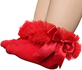 Socks 3 Pairs Bow Lace Socks Baby Cotton Ankle Socks, Size:M(Yellow) Outdoor & Sports (Color : Red)